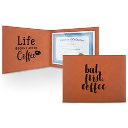 Coffee Addict Leatherette Certificate Holder (Personalized)