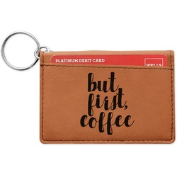 Coffee Addict Leatherette Keychain ID Holder (Personalized)