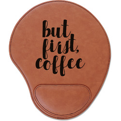 Coffee Addict Leatherette Mouse Pad with Wrist Support (Personalized)