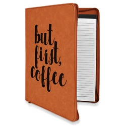 Coffee Addict Leatherette Zipper Portfolio with Notepad (Personalized)