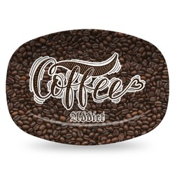 Coffee Addict Plastic Platter - Microwave & Oven Safe Composite Polymer (Personalized)