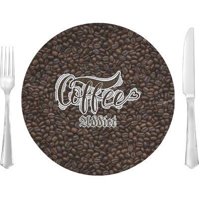 """Coffee Addict 10"""" Glass Lunch / Dinner Plates - Single or Set (Personalized)"""