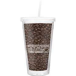 Coffee Addict Double Wall Tumbler with Straw (Personalized)