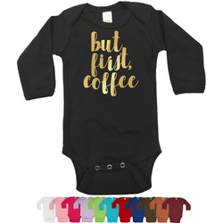 Coffee Addict Foil Bodysuit - Long Sleeves - 6-12 months - Gold, Silver or Rose Gold (Personalized)
