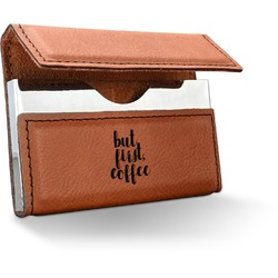 Coffee Addict Leatherette Business Card Holder (Personalized)