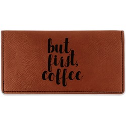Coffee Addict Leatherette Checkbook Holder (Personalized)