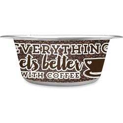 Coffee Addict Stainless Steel Dog Bowl (Personalized)