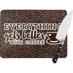 Coffee Addict Rectangular Glass Cutting Board (Personalized)