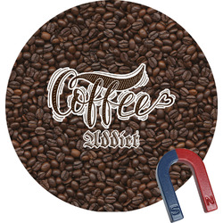 Coffee Addict Round Magnet (Personalized)