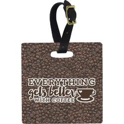 Coffee Addict Square Luggage Tag (Personalized)