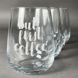 Coffee Addict Wine Glasses (Stemless Set of 4) (Personalized)
