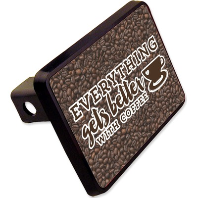 """Coffee Addict Rectangular Trailer Hitch Cover - 2"""" (Personalized)"""