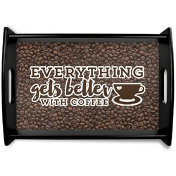 Coffee Addict Black Wooden Tray (Personalized)