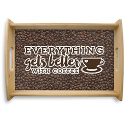 Coffee Addict Natural Wooden Tray (Personalized)