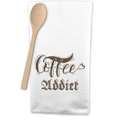 Coffee Addict Waffle Weave Kitchen Towel (Personalized)