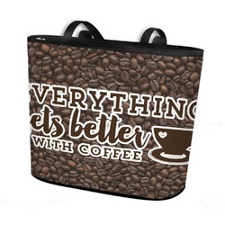 Coffee Addict Bucket Tote w/ Genuine Leather Trim (Personalized)