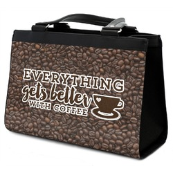 Coffee Addict Classic Tote Purse w/ Leather Trim (Personalized)