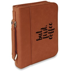 Coffee Addict Leatherette Book / Bible Cover with Handle & Zipper (Personalized)
