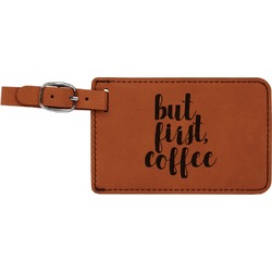 Coffee Addict Leatherette Luggage Tag (Personalized)