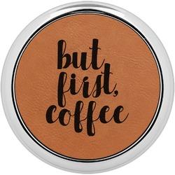 Coffee Addict Leatherette Round Coaster w/ Silver Edge - Single or Set (Personalized)
