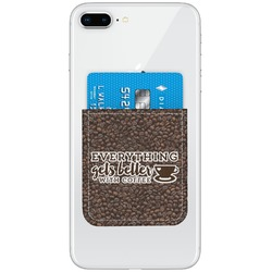 Coffee Addict Genuine Leather Adhesive Phone Wallet (Personalized)