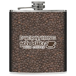 Coffee Addict Genuine Leather Flask (Personalized)