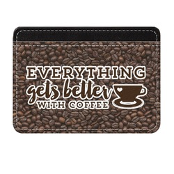 Coffee Addict Genuine Leather Front Pocket Wallet (Personalized)