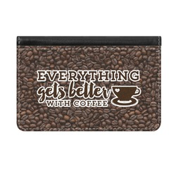Coffee Addict Genuine Leather ID & Card Wallet - Slim Style (Personalized)