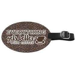 Coffee Addict Genuine Leather Oval Luggage Tag (Personalized)