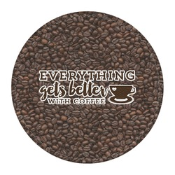 Coffee Addict Round Desk Weight - Genuine Leather  (Personalized)