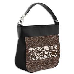 Coffee Addict Hobo Purse w/ Genuine Leather Trim (Personalized)