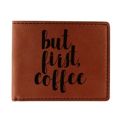 Coffee Addict Leatherette Bifold Wallet (Personalized)