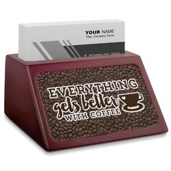 Coffee Addict Red Mahogany Business Card Holder (Personalized)