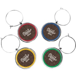 Coffee Addict Wine Charms (Set of 4) (Personalized)