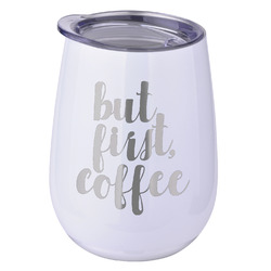 Coffee Addict Stemless Wine Tumbler - 5 Color Choices - Stainless Steel  (Personalized)