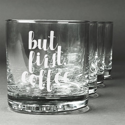 Coffee Addict Whiskey Glasses (Set of 4) (Personalized)