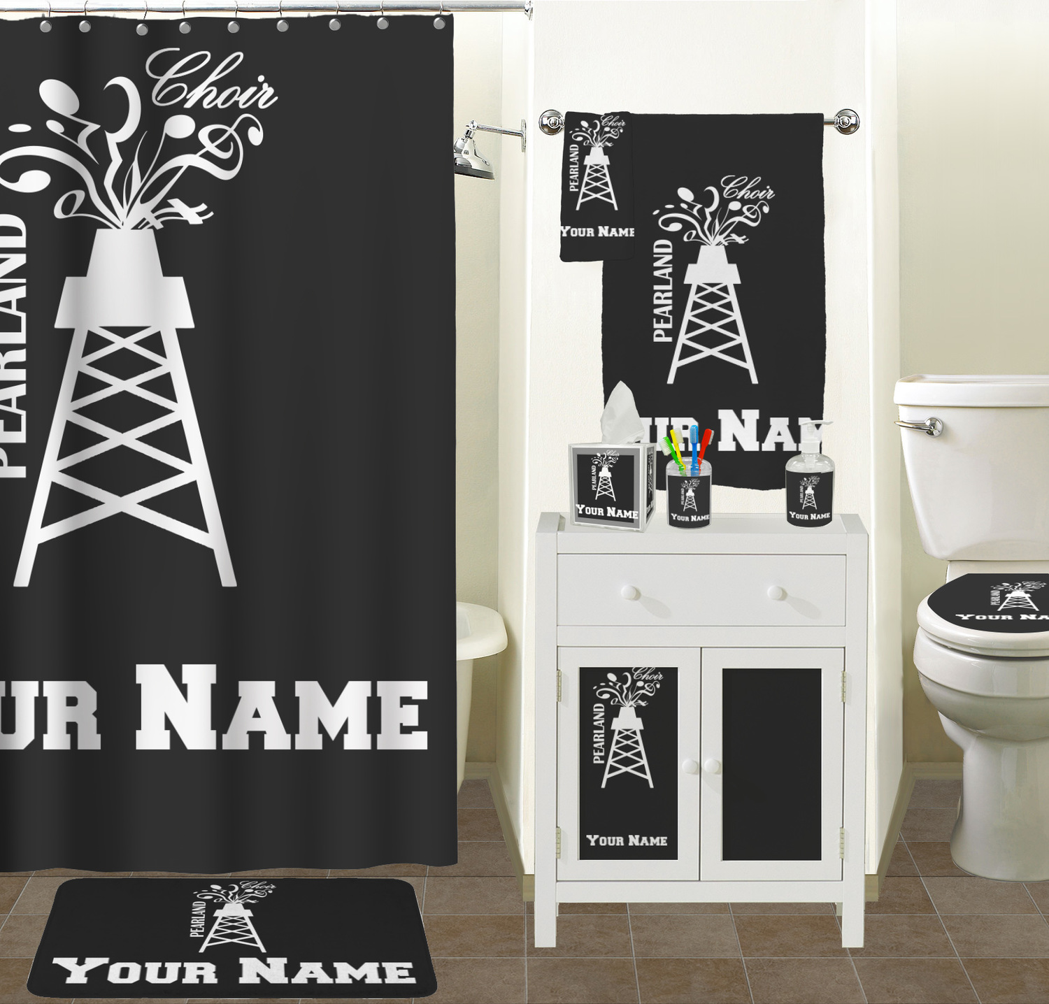 Pearland choir waste basket personalized you customize it for Bathroom remodeling pearland tx