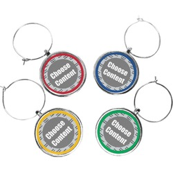 """Pearland Oilers """"P"""" Wine Charms (Set of 4) (Personalized)"""