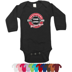Logo & Tag Line Long Sleeves Bodysuit - 12 Colors (Personalized)