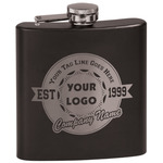 Logo & Tag Line Black Flask Set (Personalized)