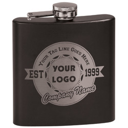 Logo & Tag Line Black Flask Set (Personalized)