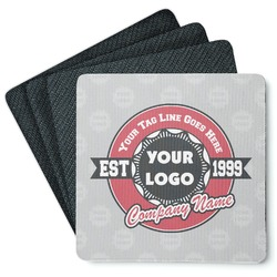 Logo & Tag Line Square Rubber Backed Coasters - Set of 4 (Personalized)