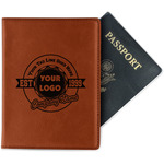 Logo & Tag Line Leatherette Passport Holder (Personalized)