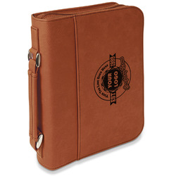 Logo & Tag Line Leatherette Bible Cover with Handle & Zipper - Large- Single Sided (Personalized)