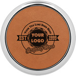 Logo & Tag Line Leatherette Round Coaster w/ Silver Edge - Single or Set (Personalized)