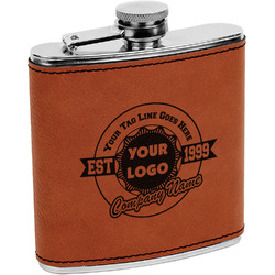 Logo & Tag Line Leatherette Wrapped Stainless Steel Flask (Personalized)