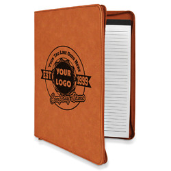 Logo & Tag Line Leatherette Zipper Portfolio with Notepad (Personalized)
