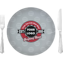 "Logo & Tag Line 10"" Glass Lunch / Dinner Plates - Single or Set (Personalized)"