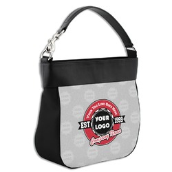 Logo & Tag Line Hobo Purse w/ Genuine Leather Trim (Personalized)