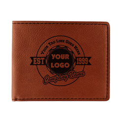 Logo & Tag Line Leatherette Bifold Wallet - Double Sided (Personalized)